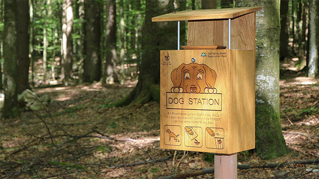 We offer Dog-Stations in three highly frequented areas. Dog feces can be disposed here.